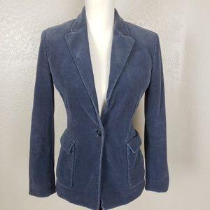 Elie Tahari Blue Single Button Corduroy Blazer